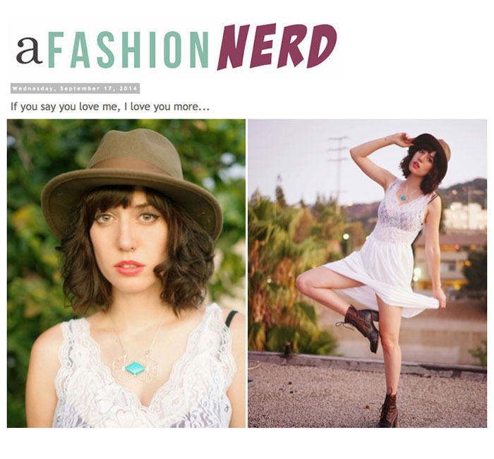A fashion nerd models our niche necklace