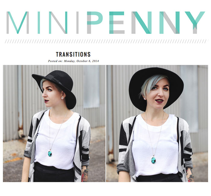 Mini Penny models our artifact necklace